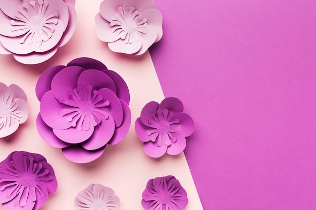 Copy-space artistic paper flowers