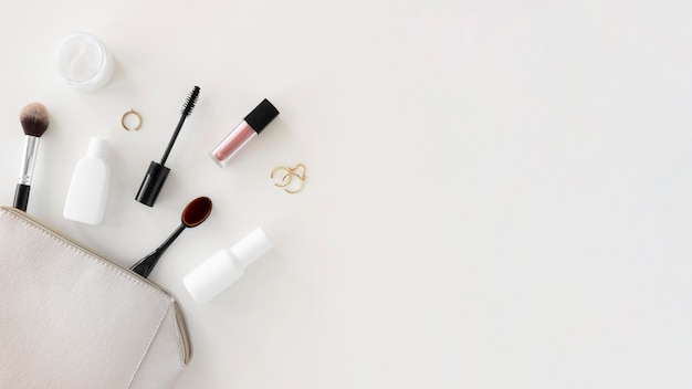 Copy-space bag with cosmetics