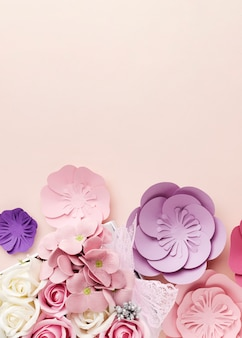Copy-space beautiful paper flowers shape