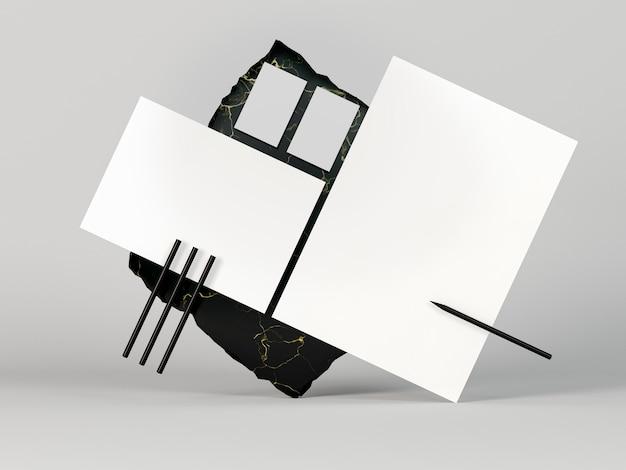 Copi i documenti della cancelleria in bianco dello spazio
