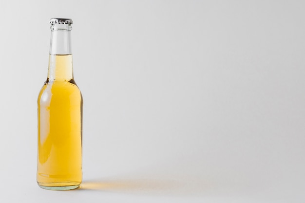 Copy-space bottle of beer on table