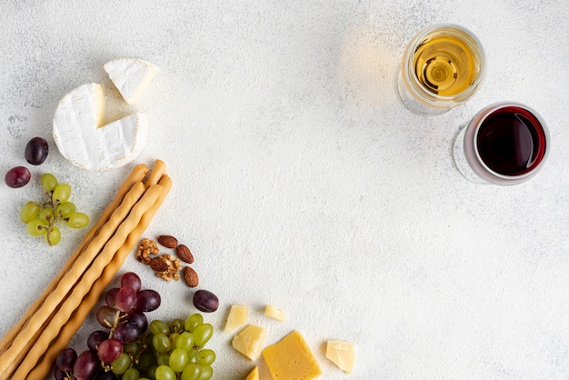 Copy-space cheese and wine assortments for tasting