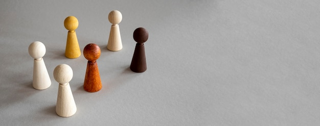 Copy-space chess wooden pieces