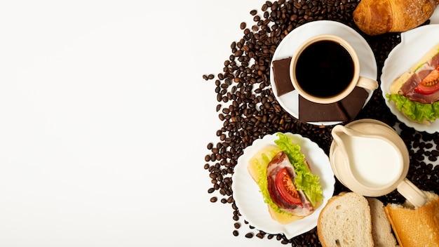 Copy space coffee and breakfast arrangement