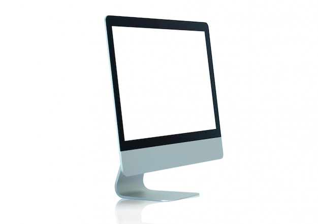 Copy space on computer monitor screen display advertisement isolated on white