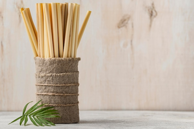 Copy space eco-friendly environment bamboo tube straws