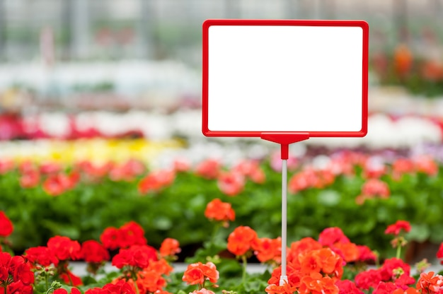 Copy space in flower bed. close-up of copy space on the commercial sign with flower bed on the background