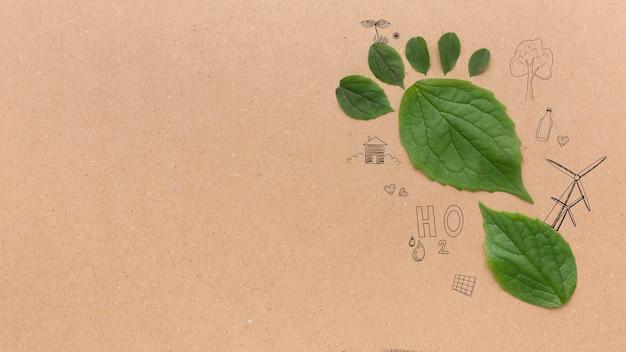 Copy space foot print of leaves