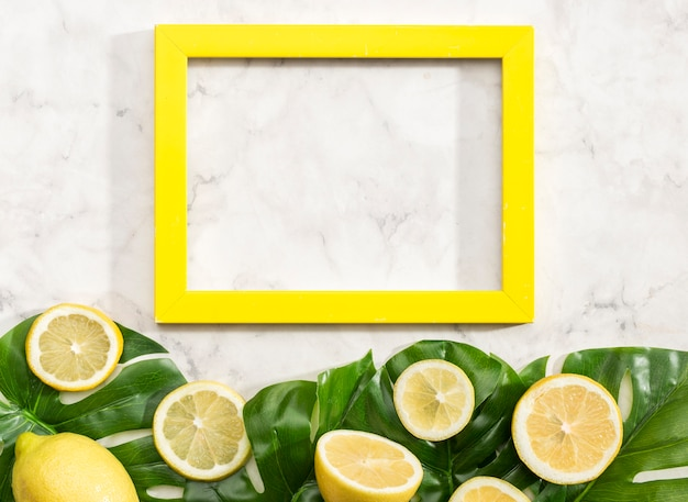 Copy space frame with lemons