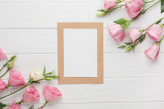 Copy space frame with pink roses