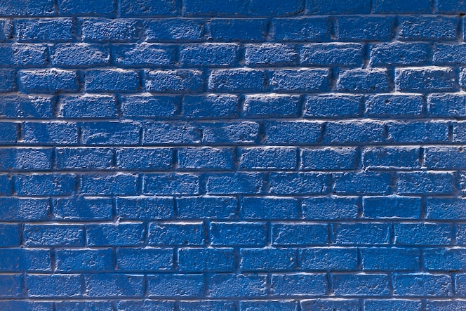 Копирование пространства вид спереди синяя кирпичная стена