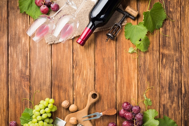 ぶどうの木とワインのコピースペース