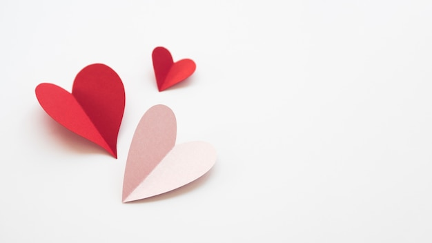 Copy-space hearts made of paper