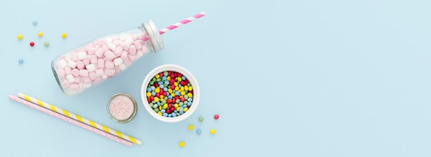 Copy-space jar with sweets