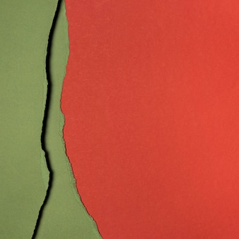 Copy space layers of red and green paper