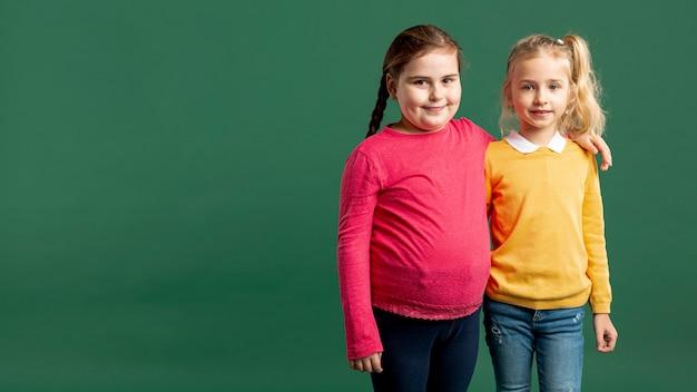 Copy-space little girls