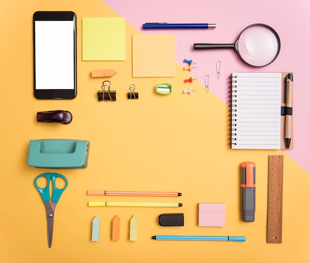 Шаблон макета копии пространства и бизнес-канцелярские принадлежности. обложка дизайн рекламы фон.