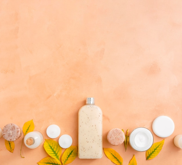 Copy-space natural cosmetic products
