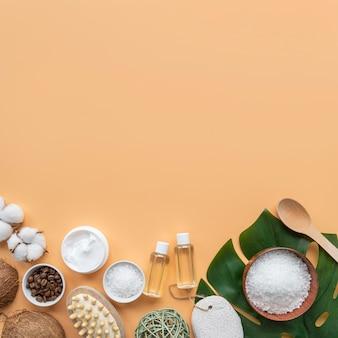 Copy-space organic cosmetics on desk