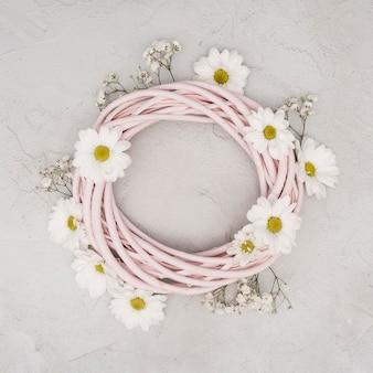 Copy space rural wreath of spring flowers