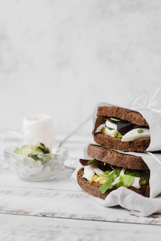 Copy-space бутерброды упакованы