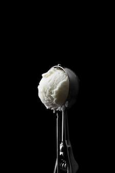 Copy-space scoop of vanilla ice cream