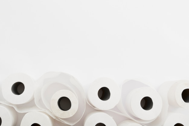Copy-space set of toilet paper rolls