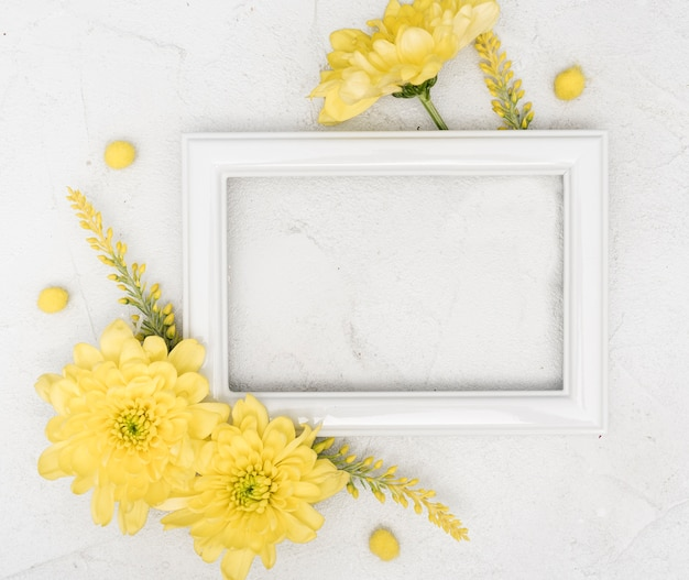 Copy space spring yellow gerbera flowers and frame