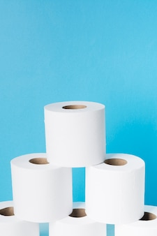 Copy-space stack of toilet paper