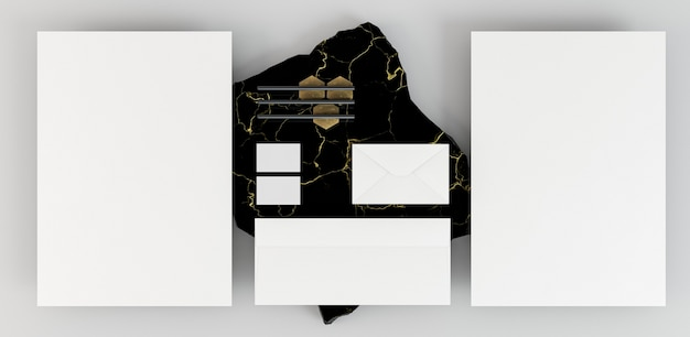 Copy space stationery documents and marble
