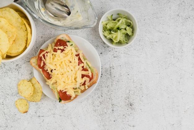 Copy-space tasty bruschettas on table