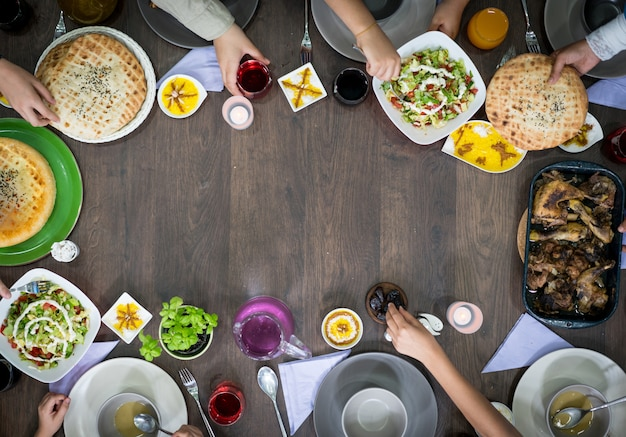 Copy space of top view food table