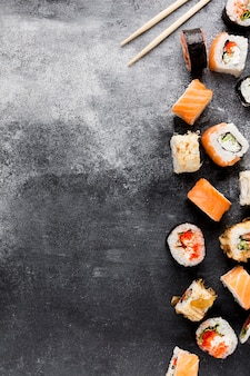 Copy-space variety of sushi on table
