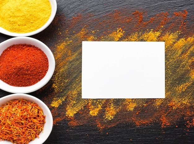 Copy-space with spices powder