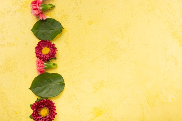 Copy space yellow background with stripe of flowers and leaves
