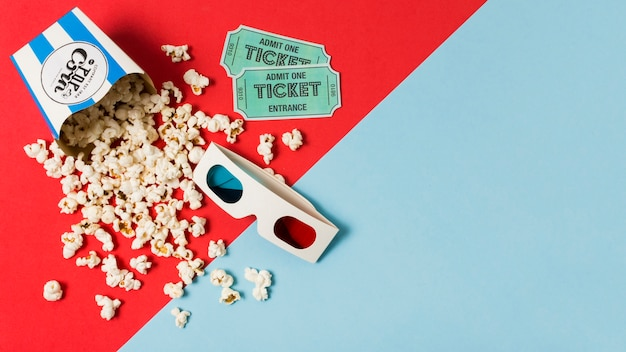 Copy-space попкорн для кино