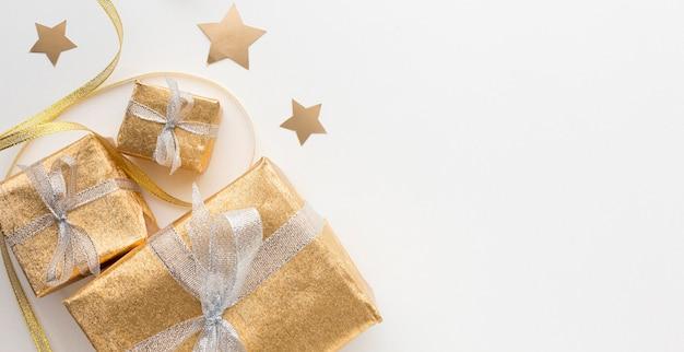 Copy-space подарки на столе