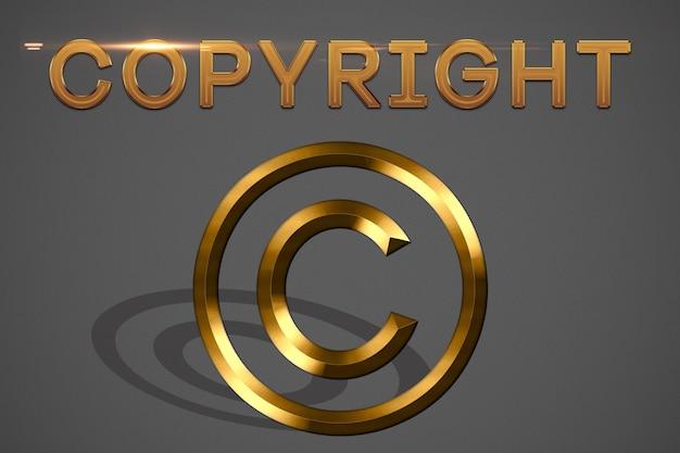 Copyright illustration in gold