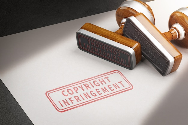 Copyright infringement letters and rubber stamps. 3d illustration