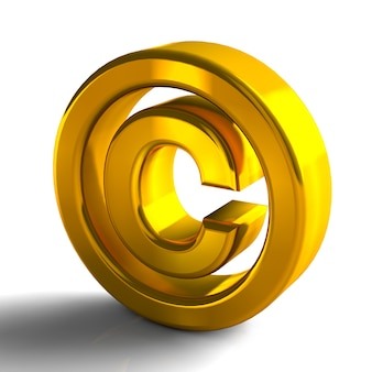 Copyright symbols trademark 3d gold color 3d render isolated on white background