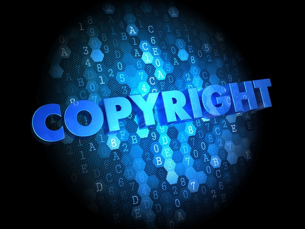 Copyright  - text in blue color on dark digital background.