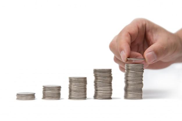 Copyspaceでコインを積み重ねる手。