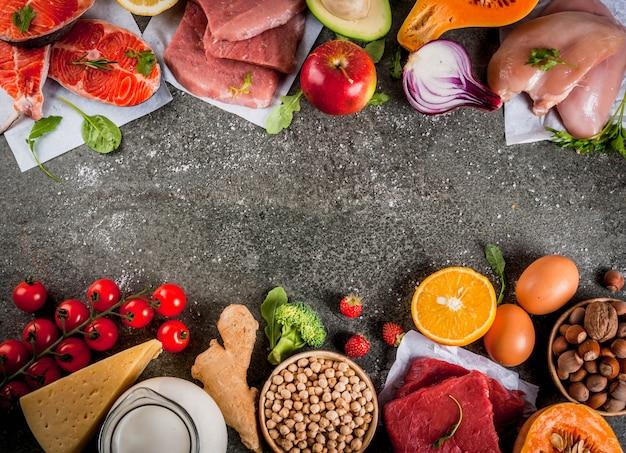 Здоровая диета фон. органические пищевые ингредиенты, суперпродукты: говядина и свинина, куриное филе, лосось, фасоль, орехи, молоко, яйца, фрукты, овощи. стол из черного камня, вид сверху copyspace
