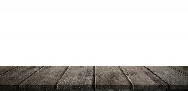Пустая деревянная таблица панорама на изолировать белый фон и монтаж дисплея с copyspace для продукта.
