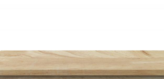 Пустая деревянная таблица на предпосылке изолята белой и монтаж дисплея с copyspace для продукта.