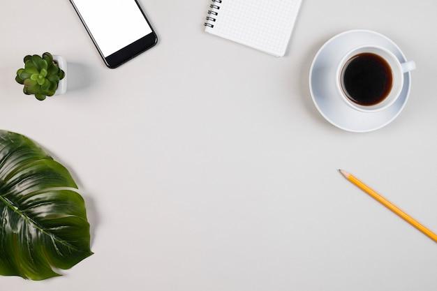 Плоская планировка стола с copyspace