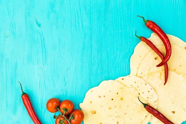Плоская планировка мексиканской пищевой композиции с copyspace