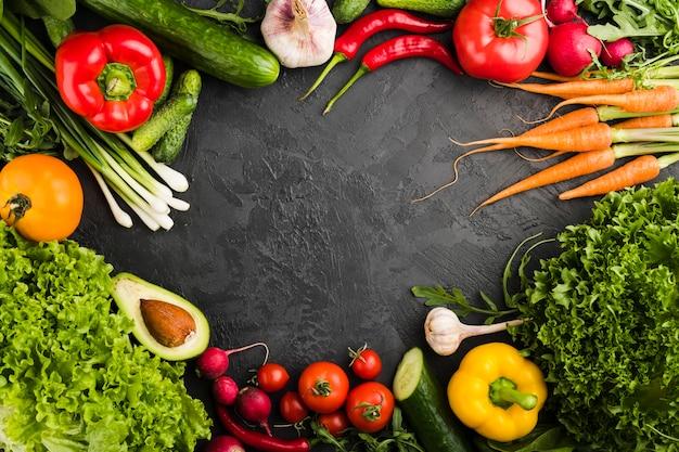 Плоская планировка овощей с copyspace
