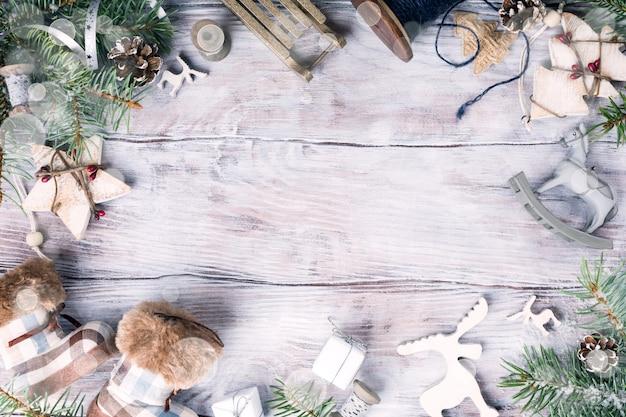Copyspaceとクリスマスフレームの背景