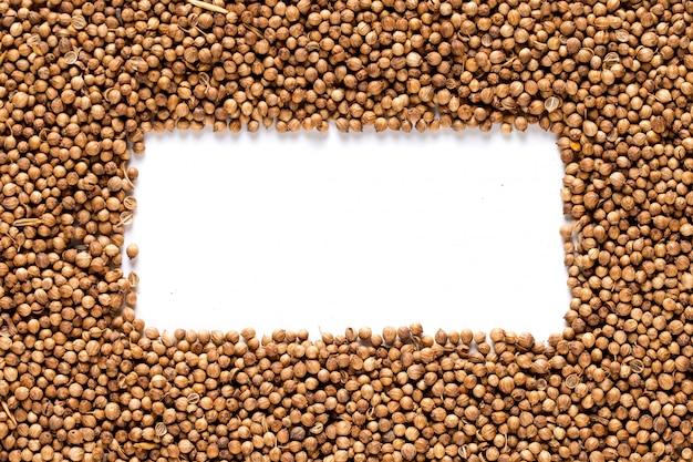 コリアンダーの穀物は、スパイスでできた黄色のフレームの形で均一に散らばっています。 、copyspace。